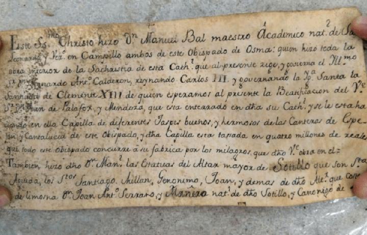 Spagna: rinvenuto messaggio nel Cristo del Miserere